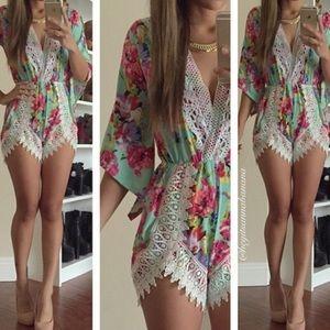 Dresses & Skirts - Lace Floral Romper